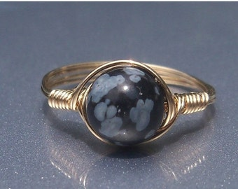 15% OFF SALE LG Snowflake Obsidian Ring, Stone Ring, 14k Yellow Gold Fill Ring, Wire Wrapped Ring, Custom Sized Ring