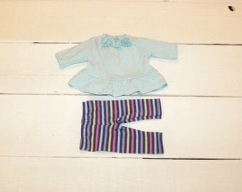 Aqua Blue Dress and Striped leggings - 12 inch doll clothes