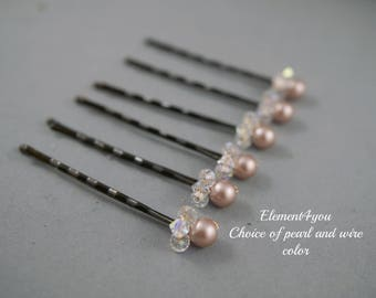 Small Hair pins, Ivory white champagne Swarovski pearls Crystals, Pearl clusters, Bridal hair piece, Bridesmaid gift, Wedding Hair accessory