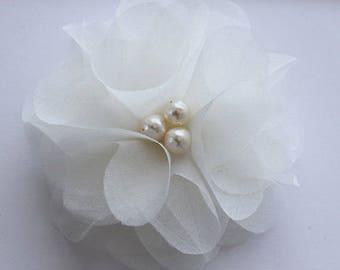 One Silk organza flower hair clip for wedding reception bridal party  wedding hair piece