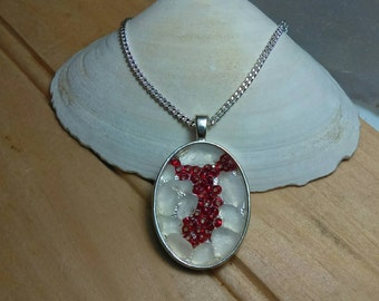 Seaglass Necklace Art Mosaic White with Red Glass Beads Silver Chain, Beach Jewelry, Maine Made