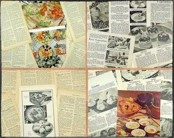 Vintage paper ephemera pack, 24 pages, cookery themed, photos and text, art and craft paper, collage pack, decoupage paper.