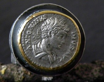 SALE!!! Ancient Roman Coin Gold Ring Silver Denarius Statement Sterling Silver Ring Silver Roman Coin Authentic Roman Coin Massive Ring