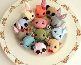 Panda, Bunny and Kitten Brooch and Barrette pdf Pattern - Instant Download