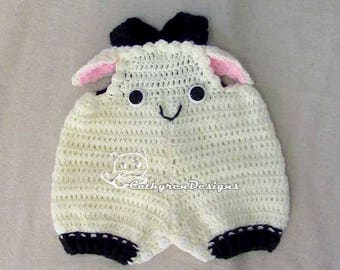 Little Lamb Overall Shorties, Rompers, Buttons at Legs for Easy Change - INSTANT DOWNLOAD Crochet Pattern