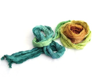 Spring colorful fashion Teal Orange ombre long crinkle dyed pure silk scarf