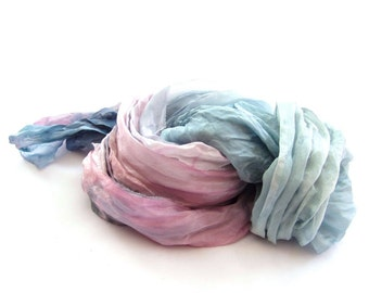 Pink blue pastel long fashion crinkle ombre silk scaf hand dyed hand painted Something Blue