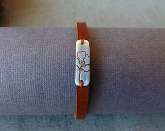 Sterling Silver and Caramel Leather Wrap Bracelet, Desert Mexican Poppy Flower Inspired, Native American Handmade USA, Southwest Gift