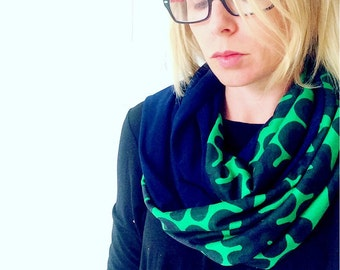Infinity Loop Scarf made with Marimekko Fabric Jersey, Womens Scarf, jersey scarf