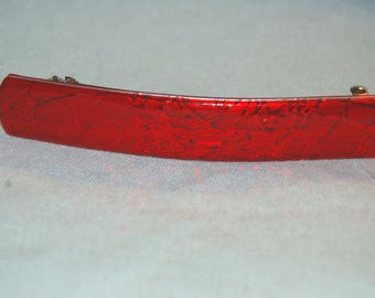 Vintage / Barrette / France / Hair Clip / French / Red / Sparkle /  old jewelry / jewellery