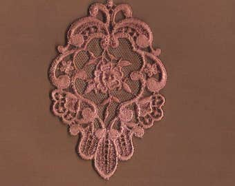Hand Dyed Venise Lace Floral Rose Medallion  Aged Mauve Rose