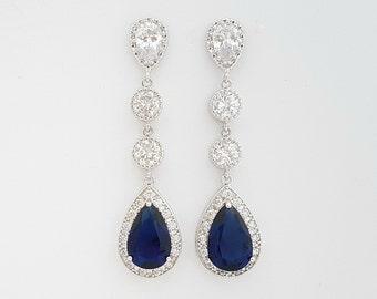 Bridal Earrings Sapphire Blue Wedding Jewelry Long Wedding Earrings Dark Blue Drop Earrings Something Blue Jewelry, Aoi