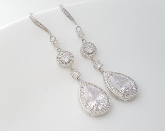 Long Wedding Earrings Crystal Bridal Earrings Cubic Zirconia Teardrop Earrings Bridal Dangle Earrings , Rayne