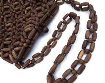 beaded bag. vintage beaded bag. wood bead bag. wood bead purse. wood bead handbag. wooded bag. wooden purse. rustic purse. summer bag. brown