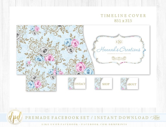 Premade DIY Facebook Set | Facebook Timeline | Facebook Package | Facebook Graphics | Business Branding | INSTANT DOWNLOAD-AV924