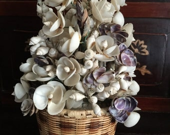 Beautiful Rare Vintage Basket of Shell Flowers