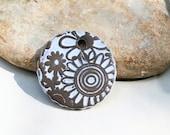 special listing for Wanda - hippie romantic boho chic céramic handmade supply pendant high fired  power flower - white pendant + 2 charms