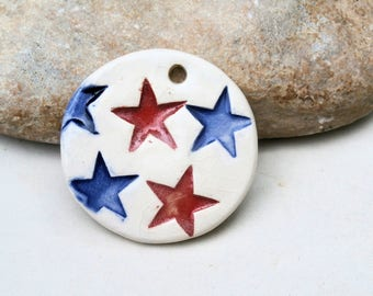 flag stars red blue pendant - handmade clay pottery earthy supply for jewel creation