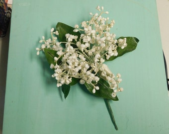 Vintage Lily of the Valley Corsage Nosegay With Original Tag Artificial Flowers Floral Corsage
