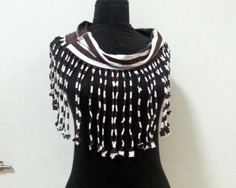Boho Fringe Scarf Tshirt Necklace Striped  Boho Fashion Fringe t-shirt scarf
