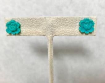 Aqua Earrings - Rose Earrings - Resin Post Earrings Doodaba