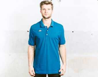 Vintage 90s Polo Shirt . KAPPA Men's T-Shirt Blue Tennis Shirt 1990s Top Polo Shirt T-shirt Boyfriend Gift . size Large