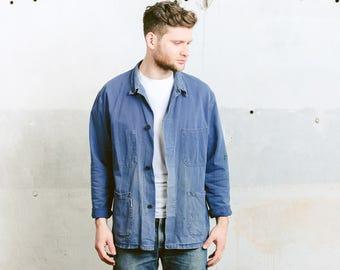 Distressed Work Jacket . Mens Vintage Chore Coat Worn Out Blue Outerwear 80s Car Mechanic Blazer Coat Boyfriend Gift . size Large L