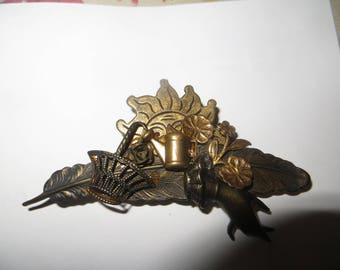 Vintage Denise Brown gorgeous large fgreen thumb garden brooch