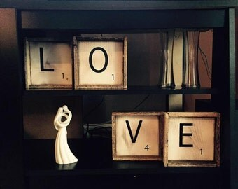 Large Scrabble Tiles for your Scrabble Wall Decor, Perfect Above Bed Art, Free Shipping