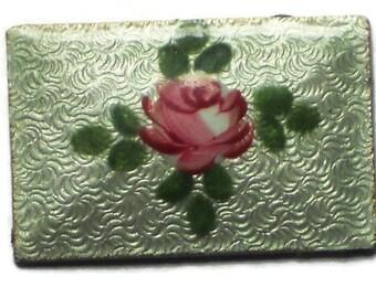 Vintage Guilloche Enamel Cabochons Rectangle NOS Rose Floral Cloisonne 1281b