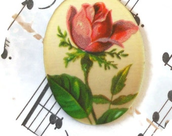 Vintage Glass Cabochons Mirrored Pink Rose Victorian Roses NOS 18x30, Western Germany Cabochons, Rose Cabochons #983