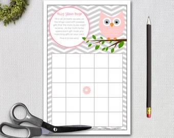 Owl Baby Shower Bingo Game Card / Instant Download / Pink Owl Bingo / DIY Printable Bingo Cards / PRINTABLE / #7850