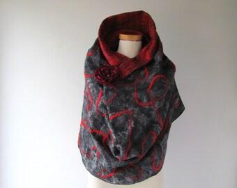 Infinity felted Scarf Loop Circle Felted scarf Grey Red scarf Warm wool felt Circle Scarf, Felted Scarf,  Red Grey scarf by Galafilc