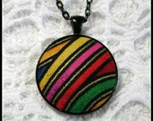 Retro Jewelry, Cute Necklace, Fabric Pendant, Fiber Art, Art Pendant, Art Necklace, Fiber Jewelry, OOAK Necklace - FP44