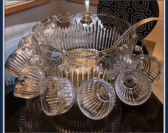 Large Heavy Glass Punch Bowl Set, 8 Cups, Ladle, Total Weight 13 Lbs., Lancaster Colony, Indiana Glass Co., Royal Drape, Vintage 1960's