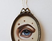 Original Framed Mini Painting--Lover's Eye with Pearls