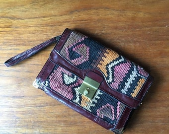 20% OFF SALE 70s KILIM Leather Clutch • Rare Kilim Woven Bag • Made in Turkey