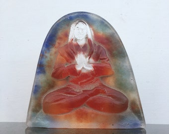 Cast Glass Buddha Sculpture Bas Relief Yoga Art Figure Metta Meditation May All Beings Be Happy Window Piece