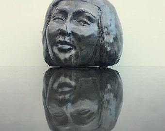 Face Vase Vessel, Art Pottery Sculpture Head Planter Centerpiece Pot