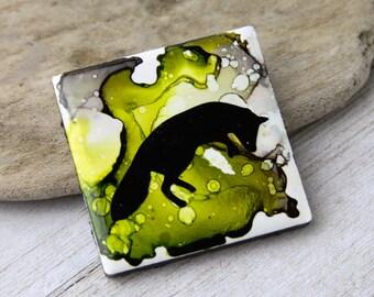Alcohol Ink magnet - Ceramic tile art - Fox decor - Pouncing fox art - Bright colors - Fox magnet - Miniature art - Gift for mom - Fox gift