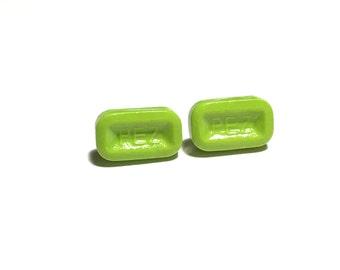 Green Pez Earrings, Pez Inspired Earrings, Post Earrings, Stud Earrings, Easter Jewelry, Gift, GIft for her, Under 5 dollars, Weird Jewelry