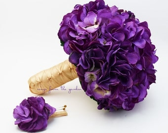 Wedding Bouquet Purple Silk Hydrangea Pale Gold Satin Ribbon - With Matching Groom's Boutonniere