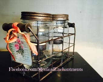 Summer Wishes Mason Jar Tea light holder with with rustic metal basket
