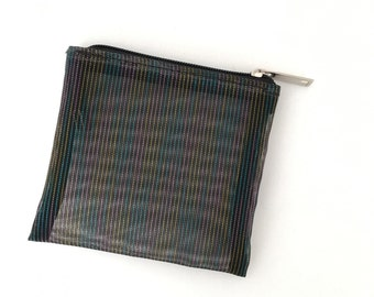 Multicolor Black Mesh Coin Purse (Handmade to order)