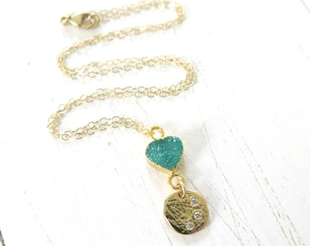 Green Druzy Choker with Three Wishes Pendant, Dainty Gold Choker, Bohemian Choker, Gold Choker Necklace, 14K Gold Druzy Choker with CZ Pave