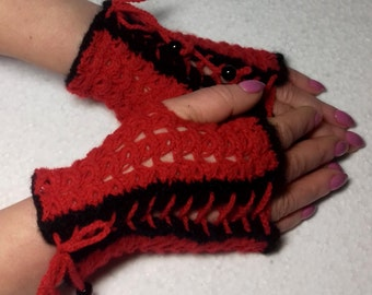Crochet Red  Fingerless Mittens  Gloves Broomstick Lace ready to ship
