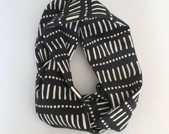Spots and stripes in monochrome infinity scarf