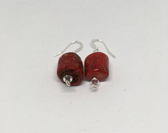 Coral and Crystal Earrings / Plated Silver