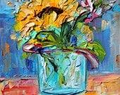 Sunflower in Mason Jar painting original oil 6x6 palette knife impressionism on canvas fine art by Karen Tarlton