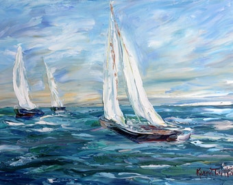 Sailboats High Seas abstract painting original oil on canvas palette knife 12x16 impressionism fine art by Karen Tarlton